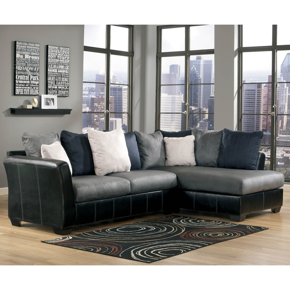 2 pc laf sectional sofa beds on finance ashley masoli raf chaise sofas
