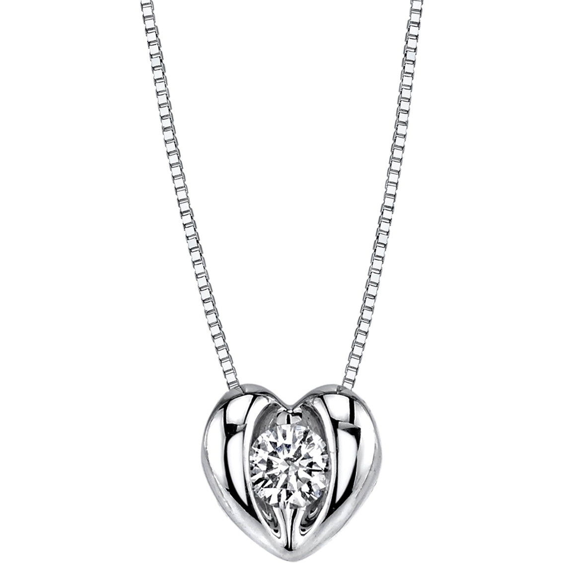 Sirena 14k White Gold 1 8 Ctw Diamond Heart Pendant