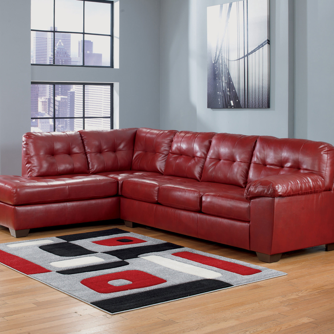 2 pc laf sectional sofa corner small living room signature design by ashley alliston durablend