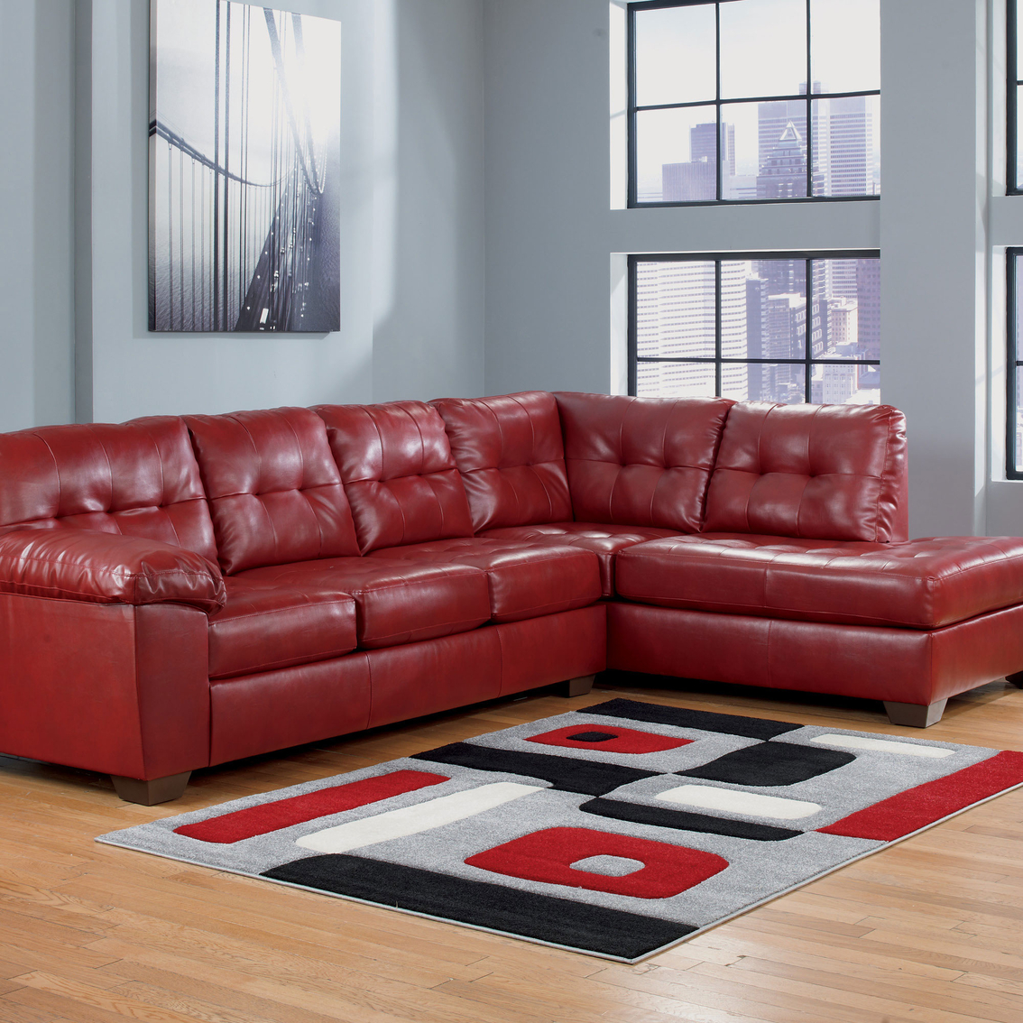 2 pc laf sectional sofa rust colored leather signature design by ashley alliston durablend ...