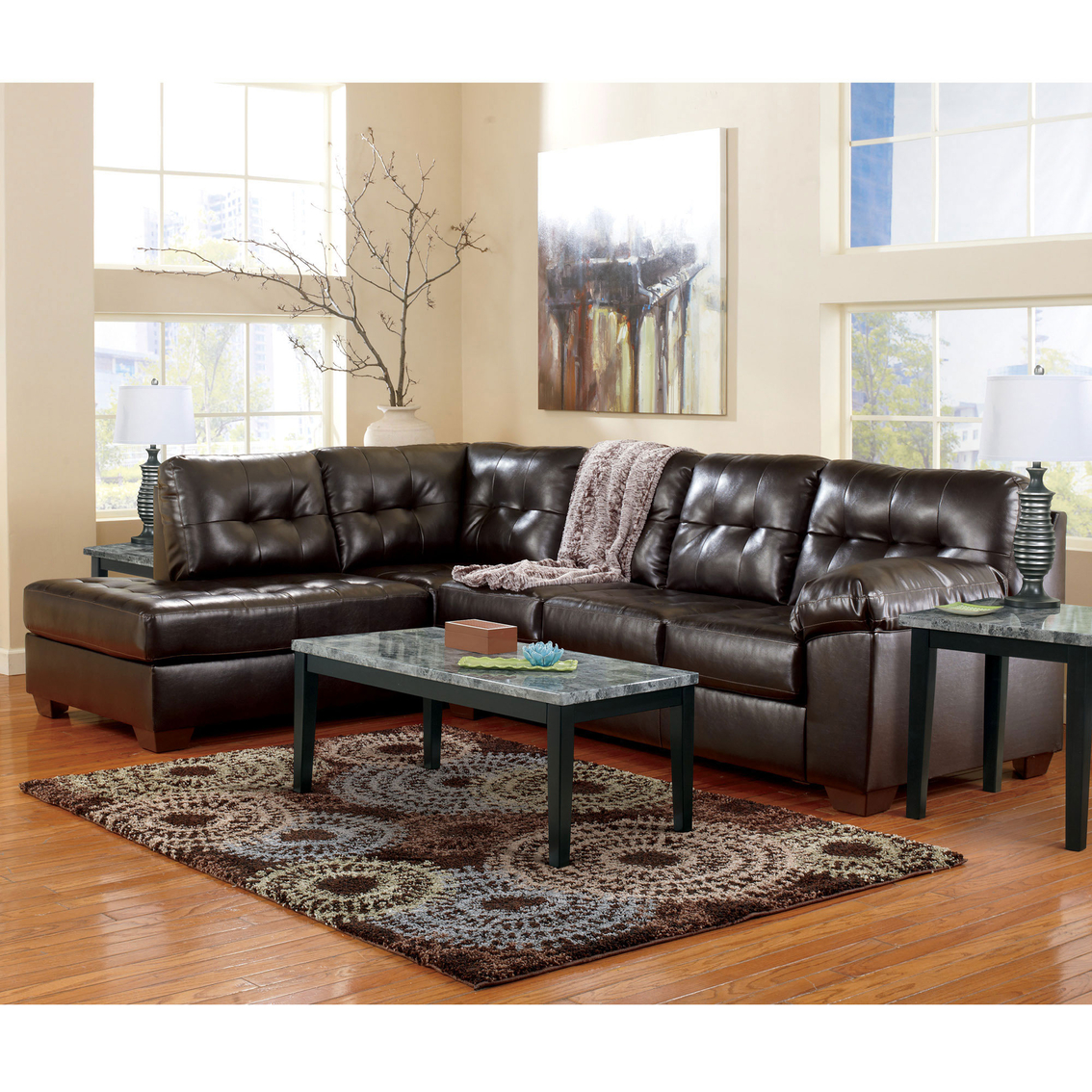2 pc laf sectional sofa dragon mart signature design by ashley alliston durablend