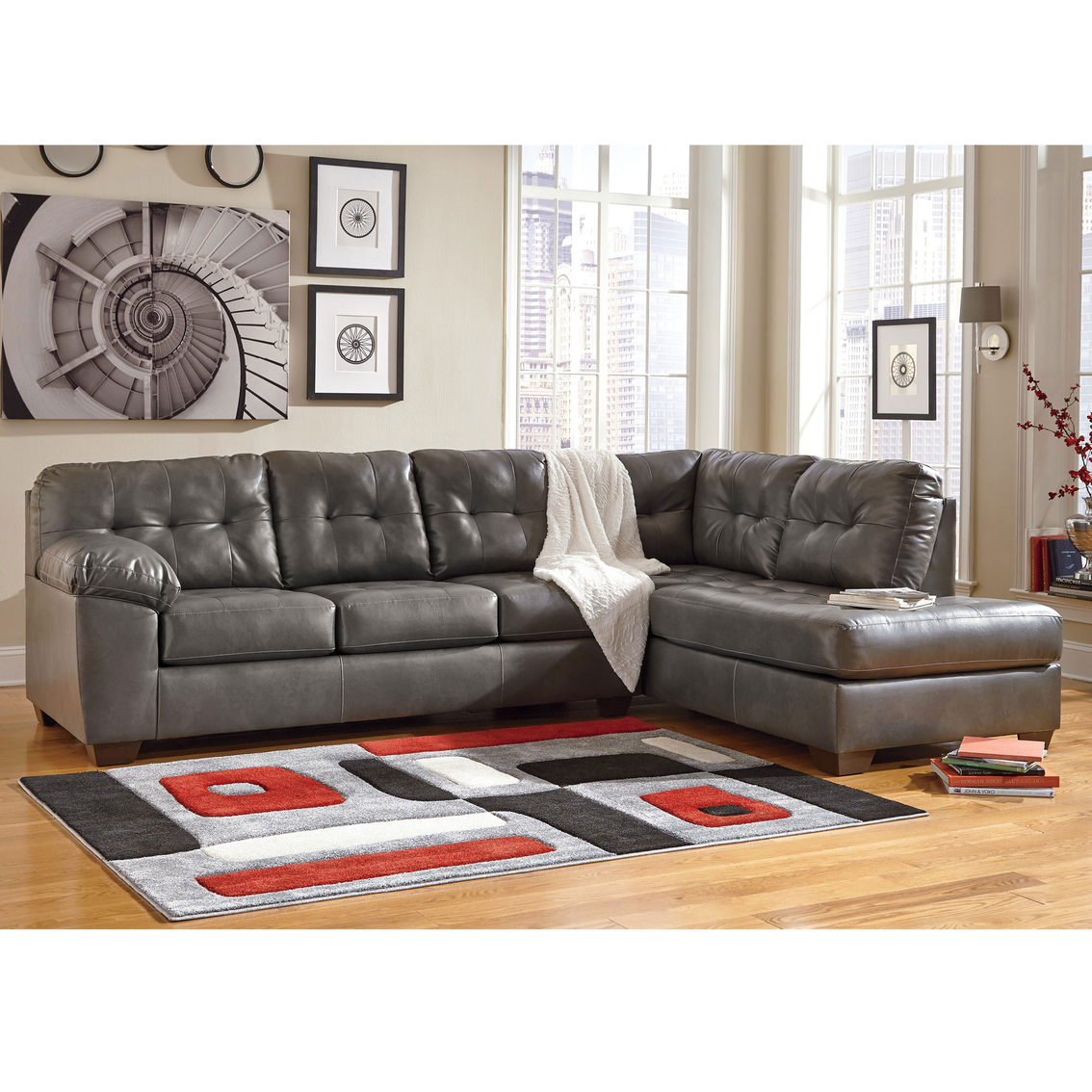 2 pc laf sectional sofa faux leather 3 seater bed fold down table signature design by ashley alliston durablend