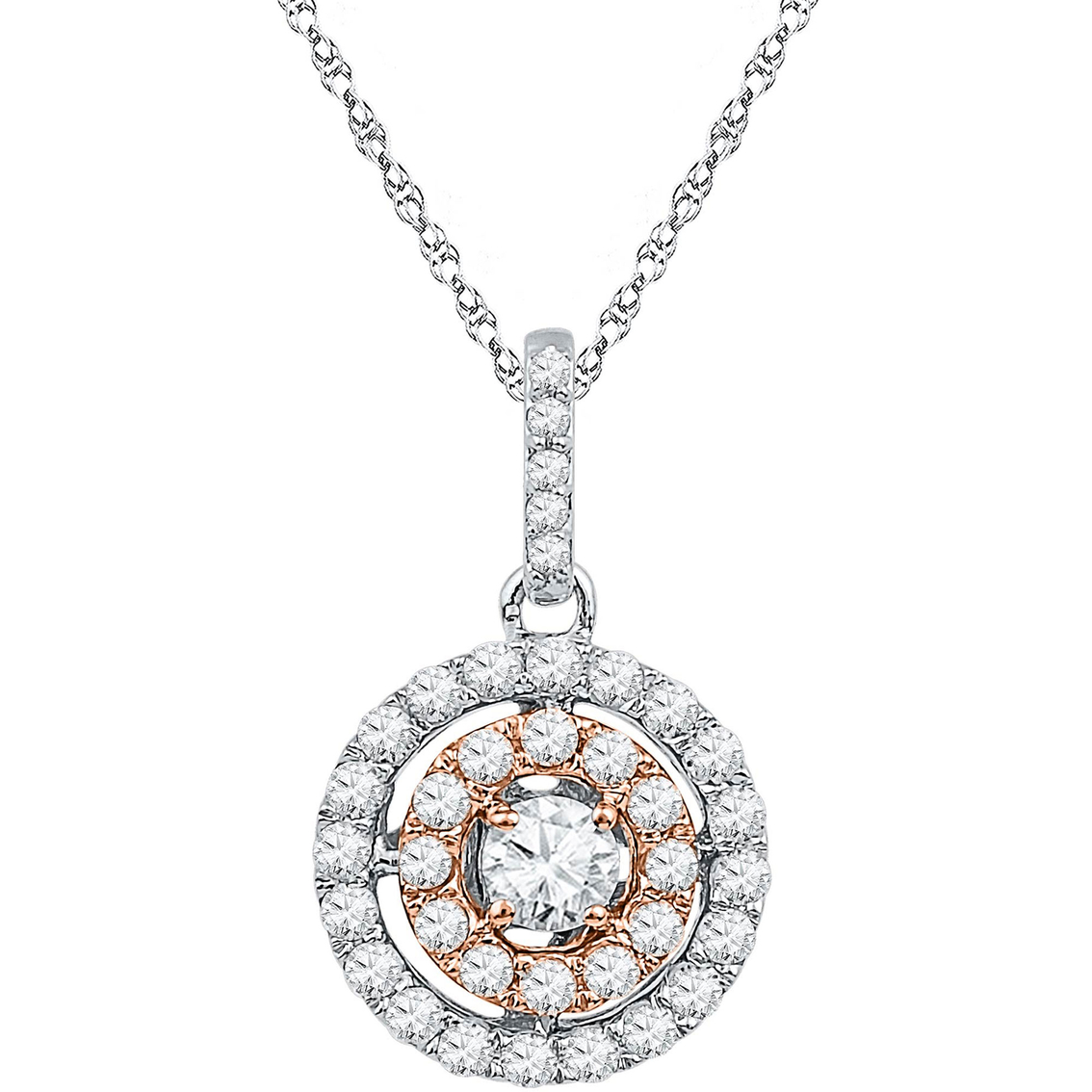 10k Two Tone Gold 1 2 Ctw Diamond Pendant