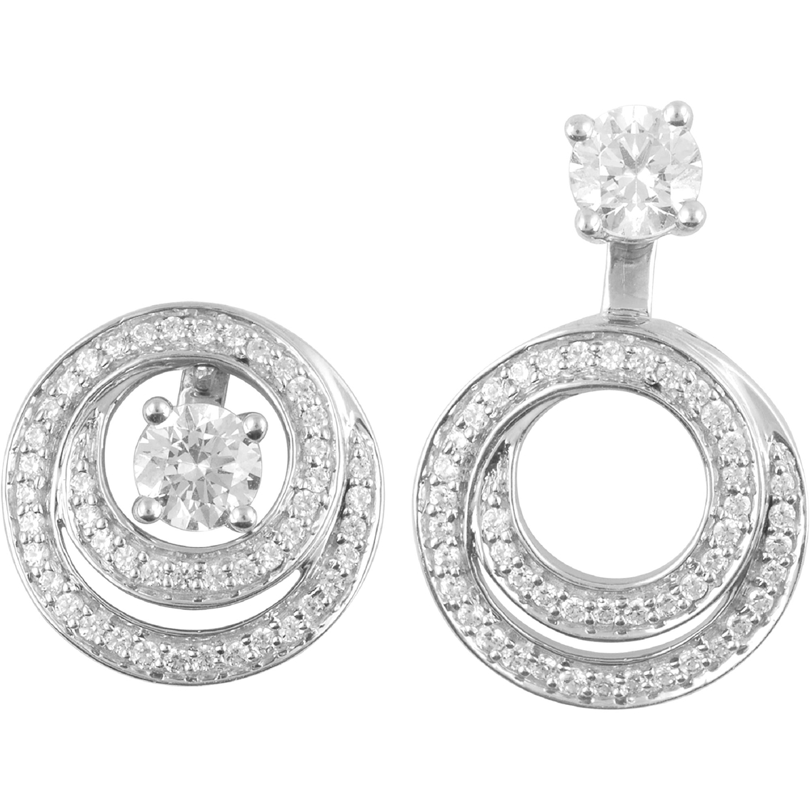 14k White Gold 13 Ctw Diamond Convertible Earring Jackets