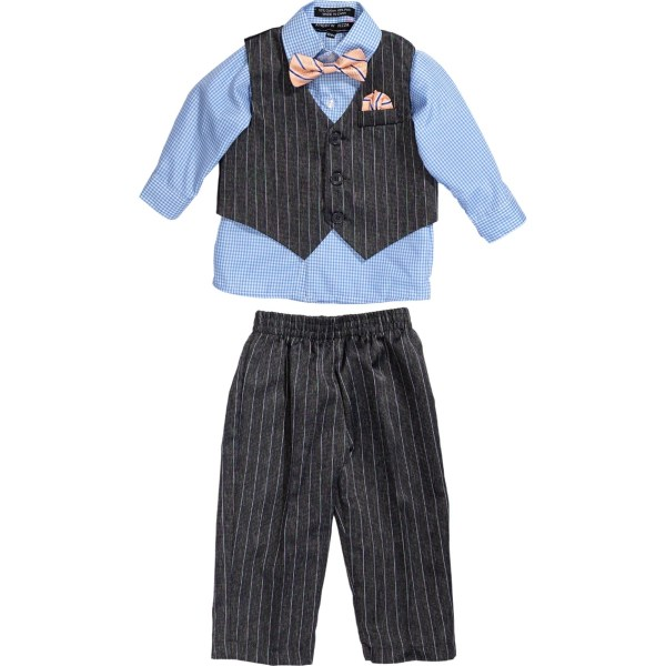 Andrew Fezza Infant Boys Striped Suiting 4 Pc. Set With