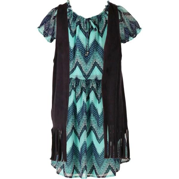 Speechless Girls Vested Chevron Print Dress 7-16