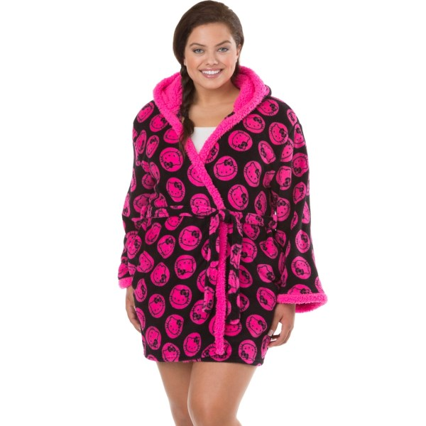 Kitty Size Kimono Style Robe With Hood Black And Hot Pink Pajamas & Robes