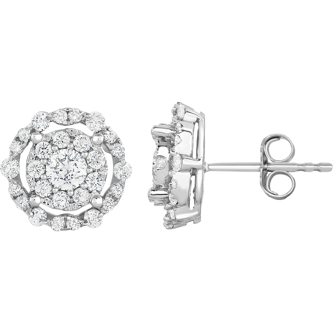 Adorne 10k White Gold 1 Ctw Diamond Classic Halo Stud
