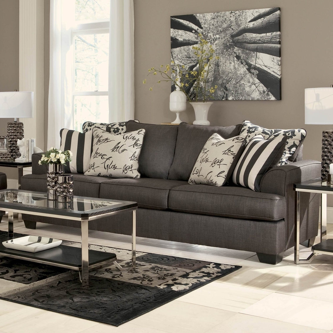 oversized pillows for sofa small sofas rooms signature design by ashley levon sofa, charcoal ...