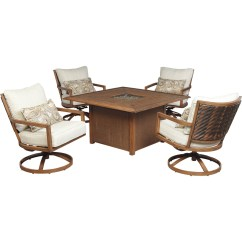 Fire Pit And Chair Set Upholstered Vanity Chairs For Bathroom Ashley Zoranne Swivel Lounge 5 Pc