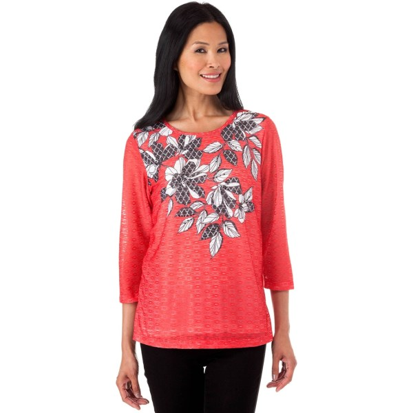 Alfred Dunner Ethnic Beat Leaf Print Knit Top Blouses & Tunics Apparel Exchange