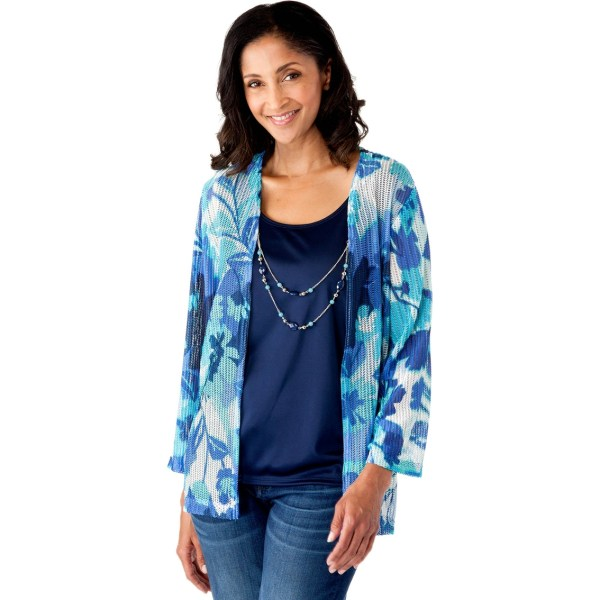 Alfred Dunner Scenic Route Floral Twofer Knit Top Blouses & Tunics Apparel Exchange