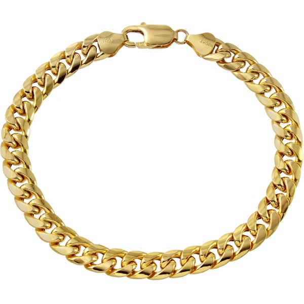 10k Yellow Gold 7.5mm Miami Cuban Link Bracelet Bracelets Jewelry & Watches Exchange