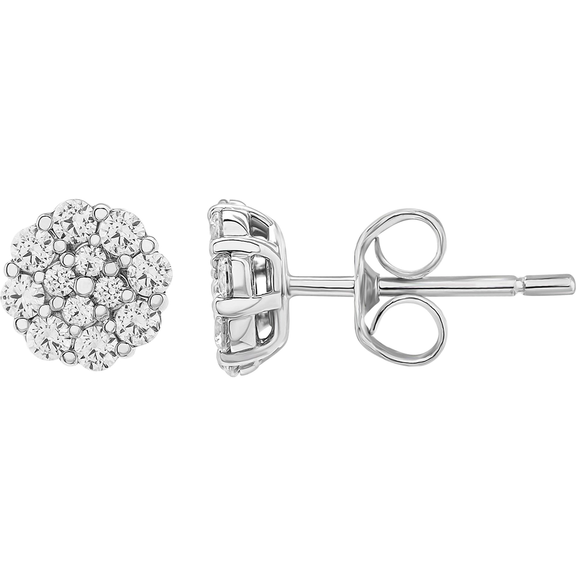 10k White Gold 1 2 Ctw Diamond Cluster Stud Earrings