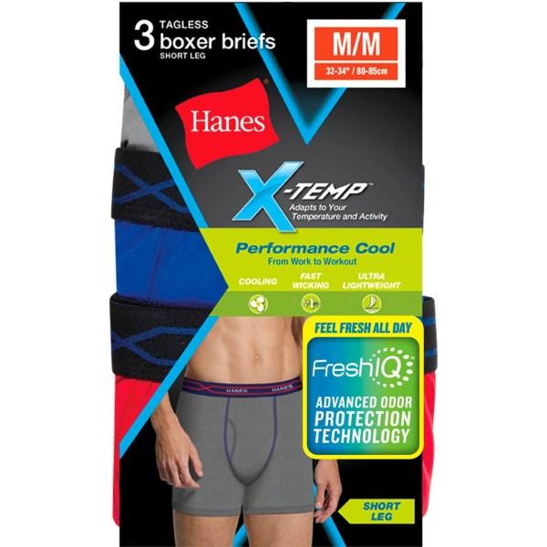 Hanes Performance Cool X-temp Short Leg Boxer Briefs 3 Pk