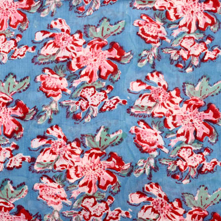 Buy Blue And Pink Large Flower Block Print Fabric 5199