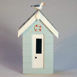 Beach Hut Money Box in Pastel Blue