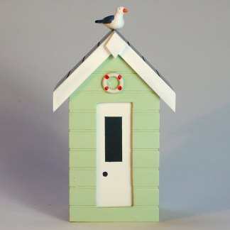 Beach Hut Money Box in Pastel Green