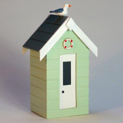 Beach Hut Money Box in Pastel Green