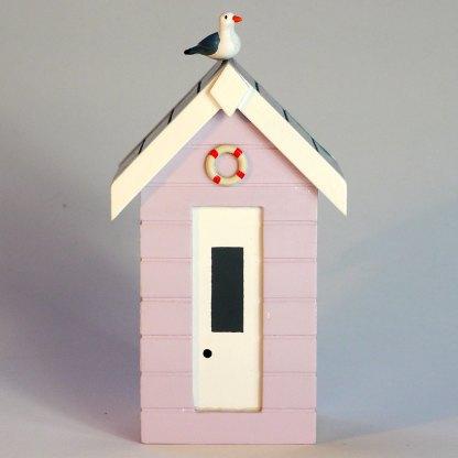 Beach Hut Money Box in Pastel Pink