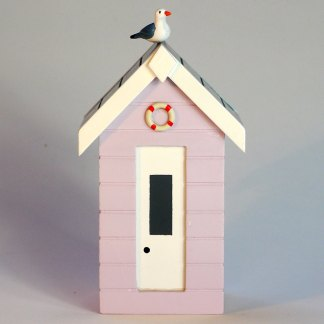 Beach Hut Money Box in Pastel Pink