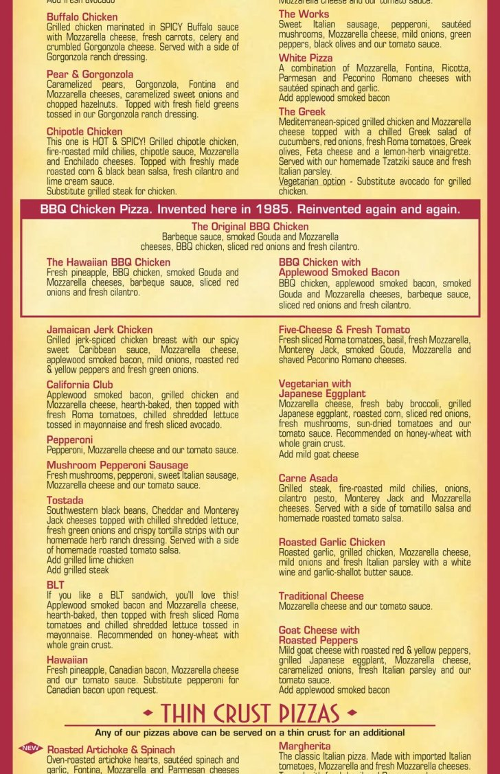 California Pizza Kitchen Menu Nutrition Information Party