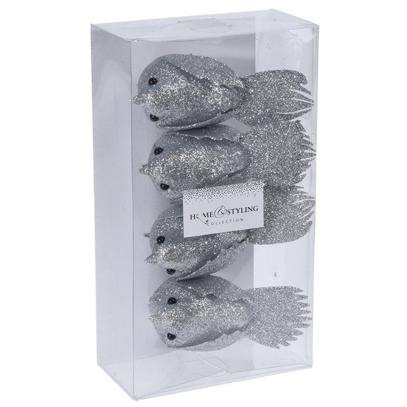 4x Kerstboomversiering glitter vogels op clip zilver 17 cm kopen voor 3.99 bij pruik-kopen.nl.