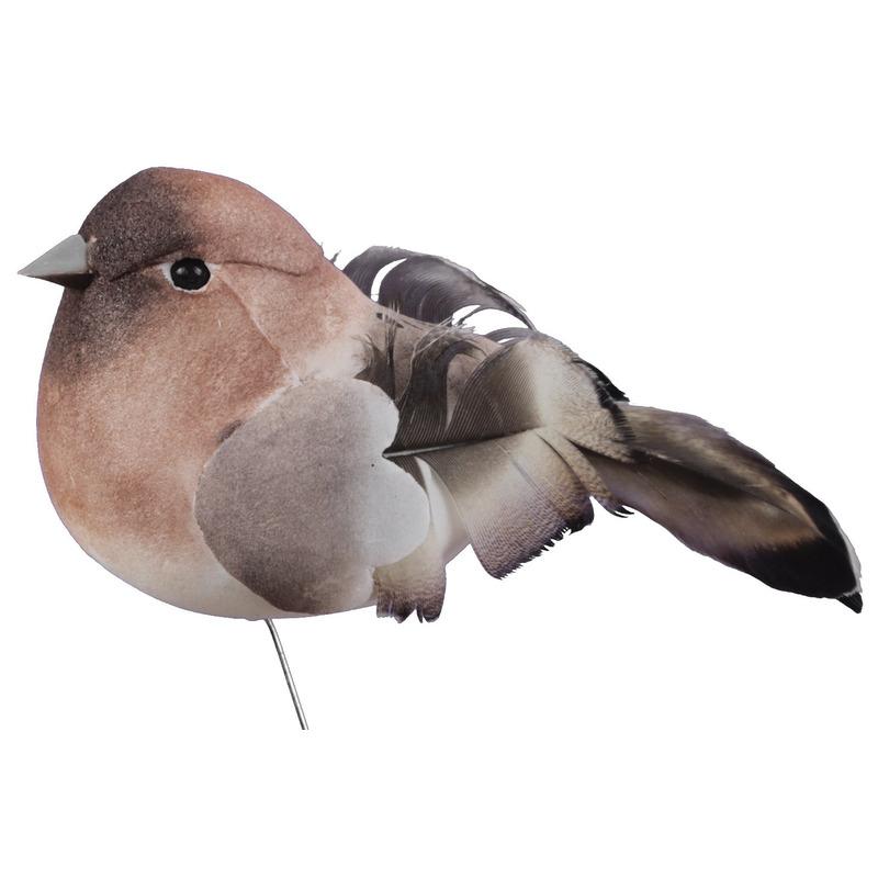 6x Bruine decoratie vogeltjes op draad 8.5 cm bij kerst-artikelen.nl.