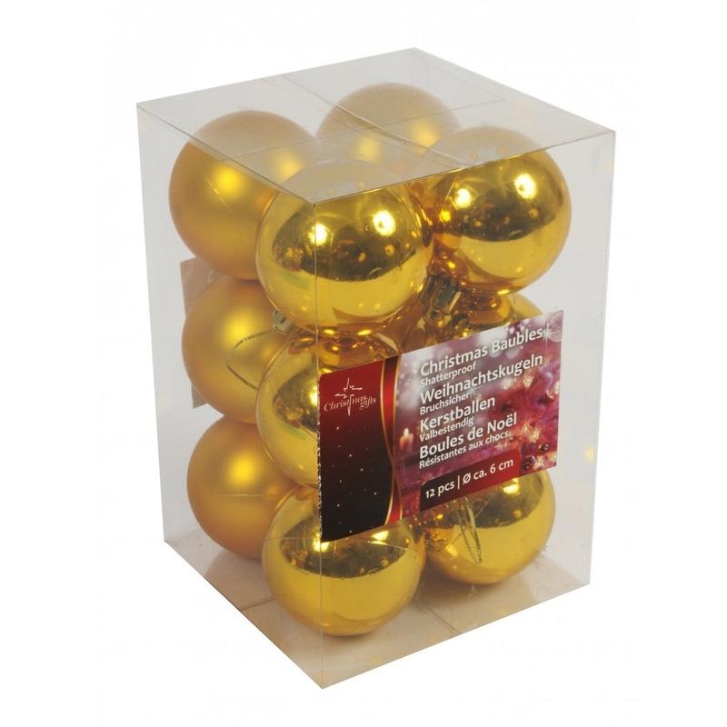 Nu zeer voordelig Gouden kerstballen onbreekbaar 12x stuks 6 cm bestellen. Oranje-voordeel.nl
