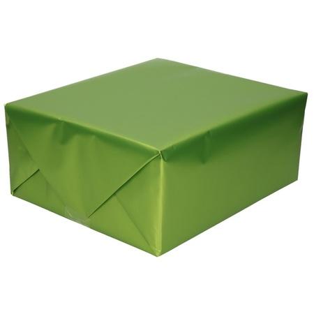 3x Verjaardag kadopapier unikleur groen 150 x 70 cm met luxe zijdeglans afwerking   Fun en Feest