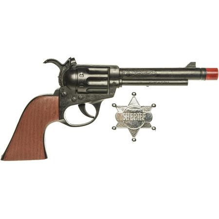 Cowboy speelgoed verkleed pistool zwart met sheriff ster 24 cm verkrijbaar bij Warenhuis-shop.nl