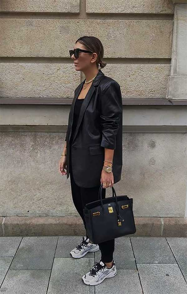 Leather blazer outfit trend