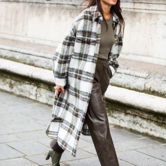 Checked overshirt trend street style outfit