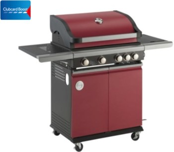 MasterChef 4 Burner Gas BBQ with Side Burner, Red clubcard boost