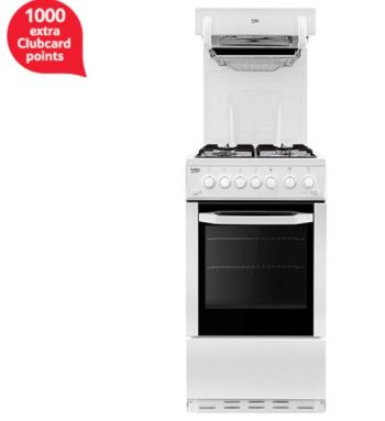 Beko Single Oven Gas Cooker, 50cm Wide, BA52NEW - White