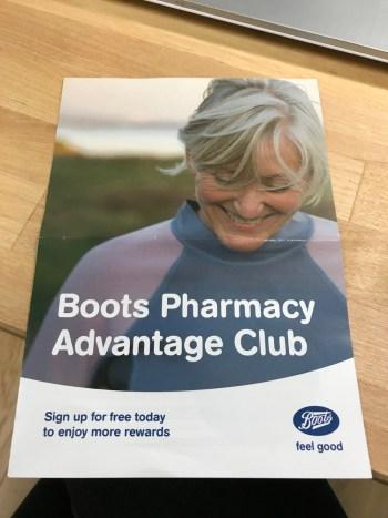 Boots Pharmacy Advantage Club Flyer