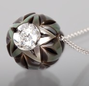 Quality Pearls Only _Carved Tahitian Pearl Pendant with .20 CT Diamond
