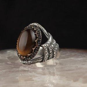خاتم فضة ( حجر عين النمر )