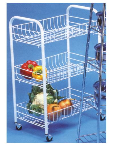 White 3 Tier Basket Vegetable Trolley Storage Rack On