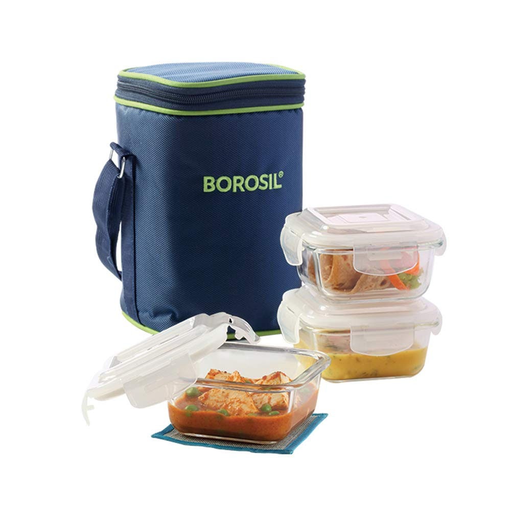 borosil glass lunch box 3 microwave safe containers icy22sd3320