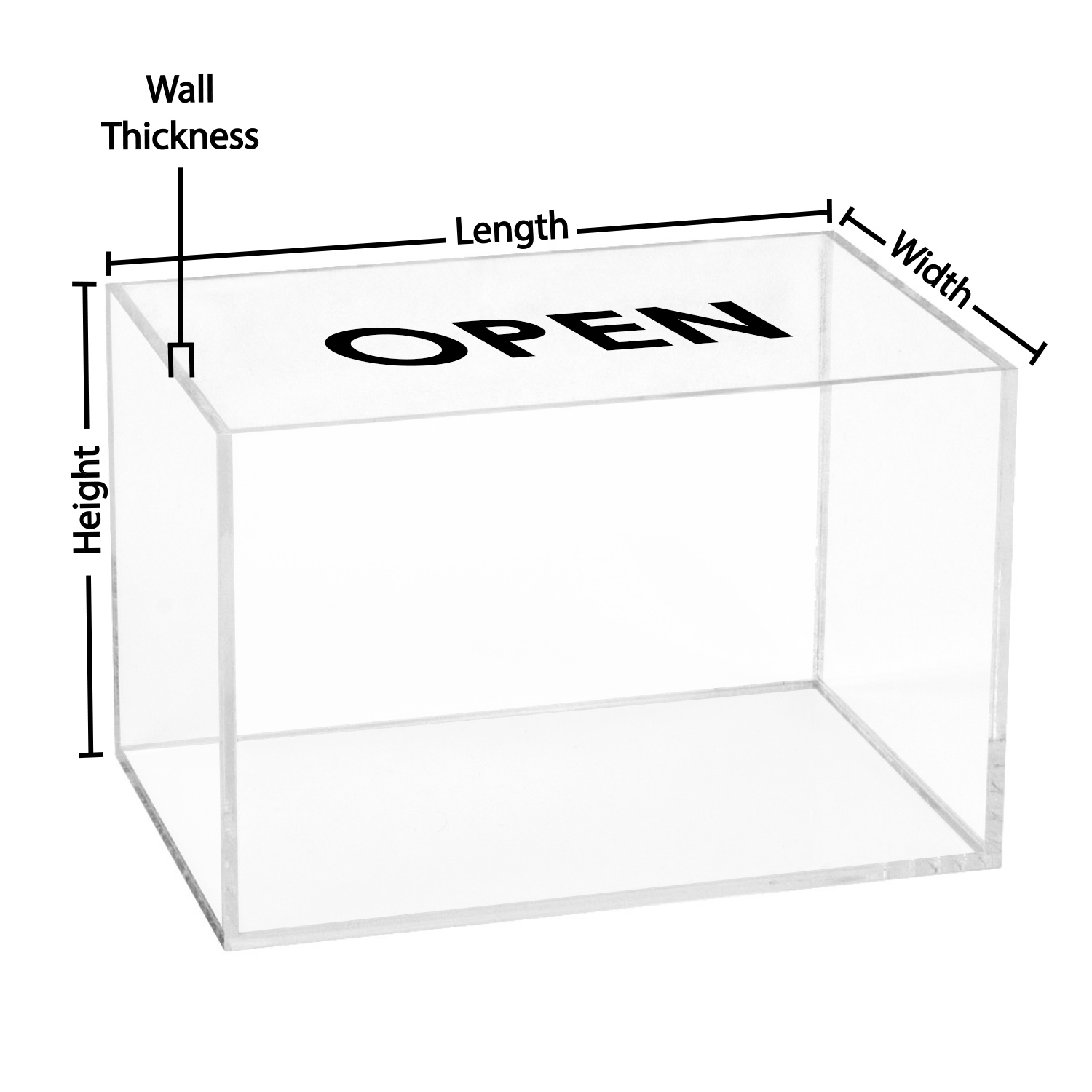 5 Sided Clear Acrylic Box