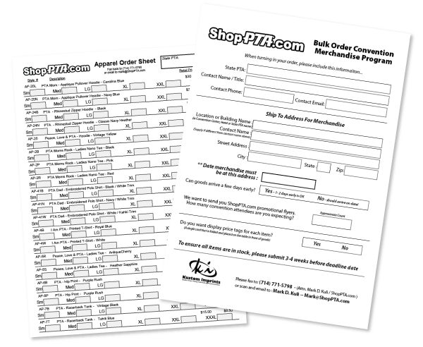 PTA Convention Order Sheets