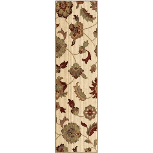 Orian Rugs Unique Design Floral Frazier Ivory Runner 2'3 X 8'