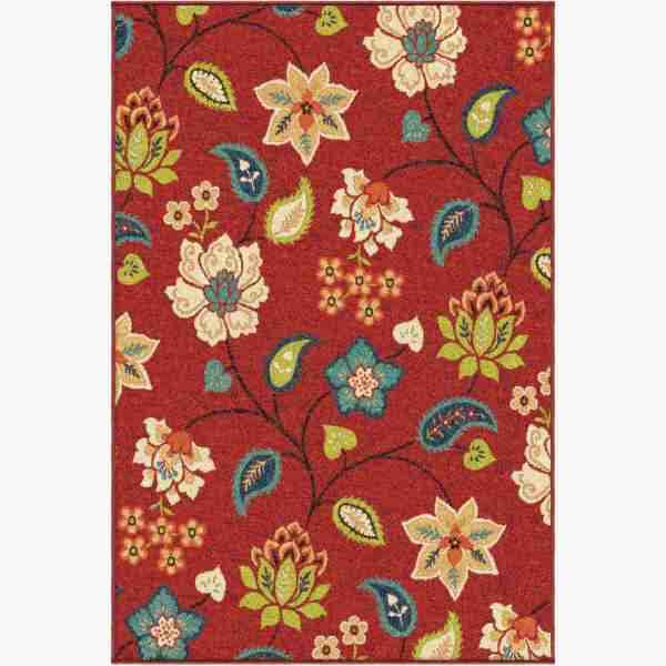 Orian Rugs Indoor Outdoor Floral Garden Chintz Red Area