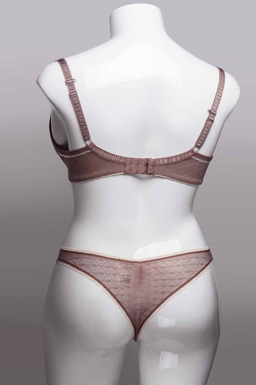 Freya Deco Vibe UW Moulded Plunge Bra with J Hook and Brazilian Set, Back View