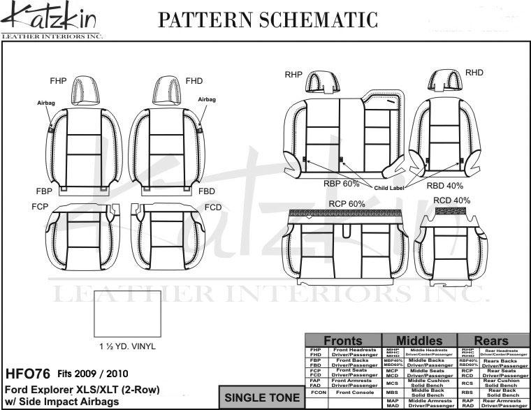 2009 2010 FORD EXPLORER XLS / XLT (2 Row) Katzkin Leather