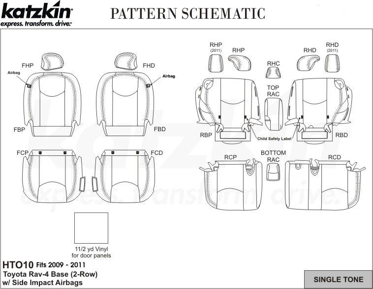 2009 2010 2011 TOYOTA RAV4 (2 row) Katzkin Leather Kit