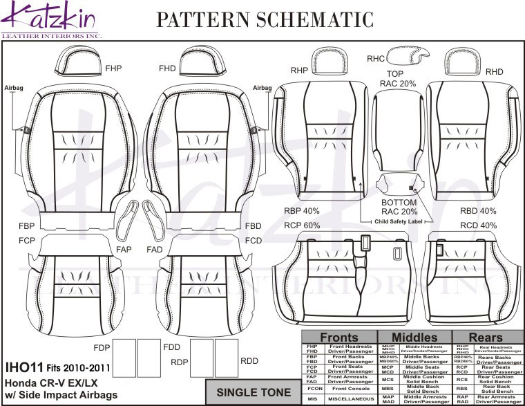 2010 2011 HONDA CRV EX/LX/SE Katzkin Leather Interior Kit