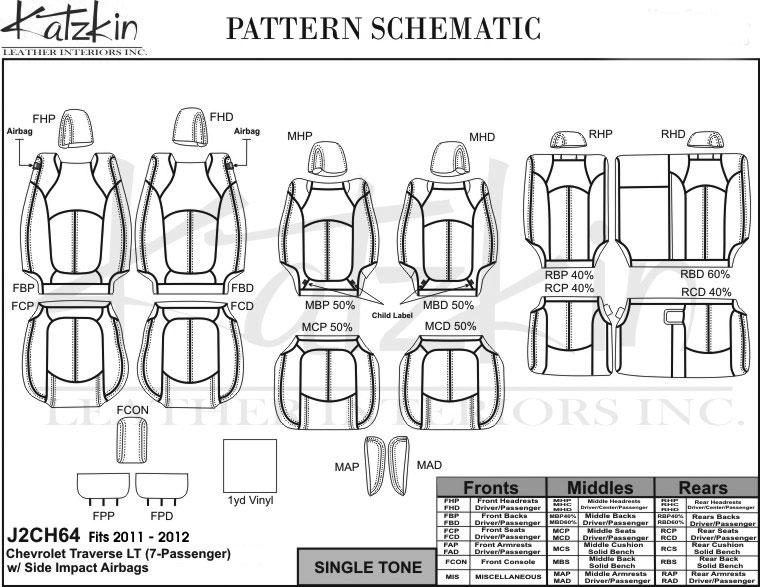 2011 2012 CHEVY TRAVERSE LT (7 pass) Katzkin Leather Kit