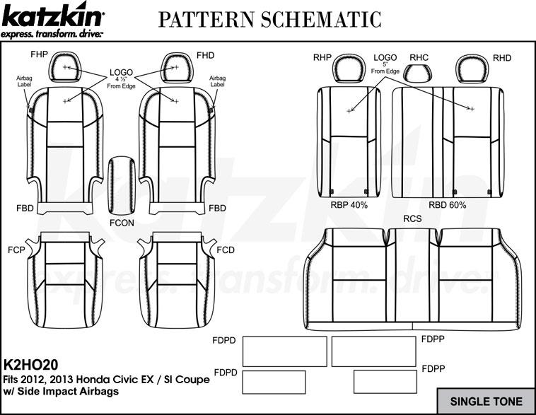 2012 2013 HONDA CIVIC EX/SI COUPE Katzkin Leather Interior